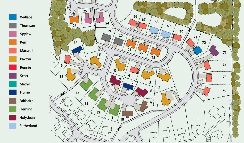 Site Layout for East Broomlands development houses in Kelso, Scottish Borders